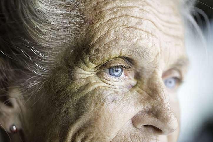 Face of an elderly senior caucasian woman