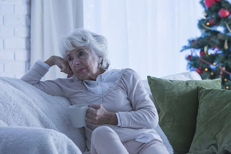 lonely senior woman during holidays